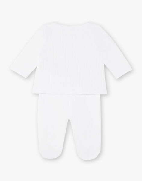 Ensemble veste croisée et pantalon en tubique blanc bébé mixte ZOLOIS / 21E0NMG2ENS000