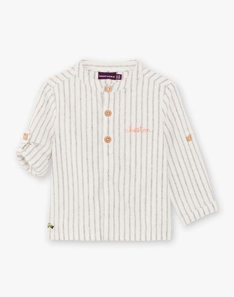 Chemise grise à rayures en lin bébé garçon BADIEGO / 21H1BG21CHM632