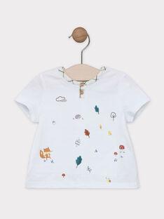 Tee-shirt manches courtes uni écru avec animation poitrine  SABARNABE / 19H1BG21TMC001