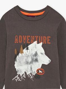 T-shirt gris anthracite imprimé loup enfant garçon BIDIBAGE / 21H3PGJ1TMLI808