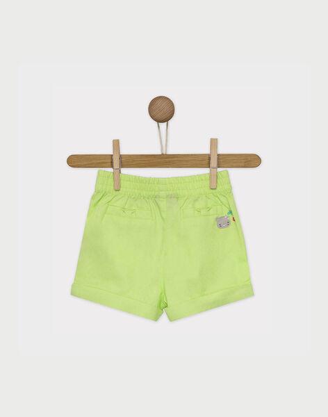 Short vert fluo nœud imprimé bébé fille RATINA / 19E1BFP1SHO108