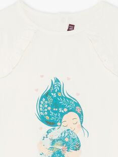 T-shirt blanc manches longues à motifs fillette et planète ZATILETTE / 21E2PF71TML009