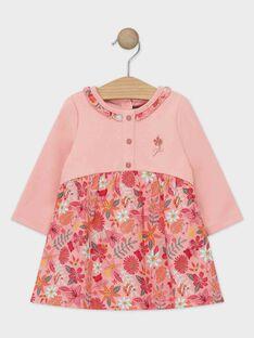 Robe bi-matière rose pâle bébé fille.  TABELLE / 20E1BFB1ROB307