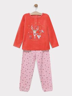 Pyjama velours - bas de manche en biais - nœud délicat sur le col SYLOUETTE / 19H5PF55PYJ402