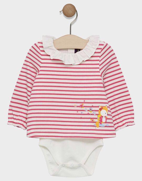 Body t-shirt à rayures roses avec col volanté bébé fille SAEVA / 19H1BF41BOD001