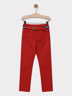 Pantalon rouge avec ceinture garçon SAMABAGE 3 / 19H3PG95PANF526