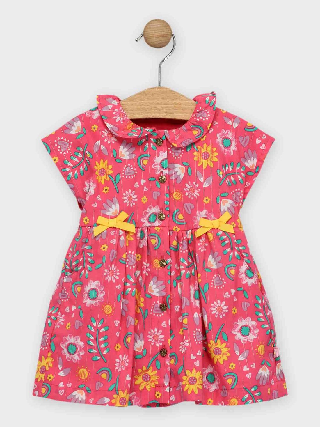 Robe rose fleurie bébé fille