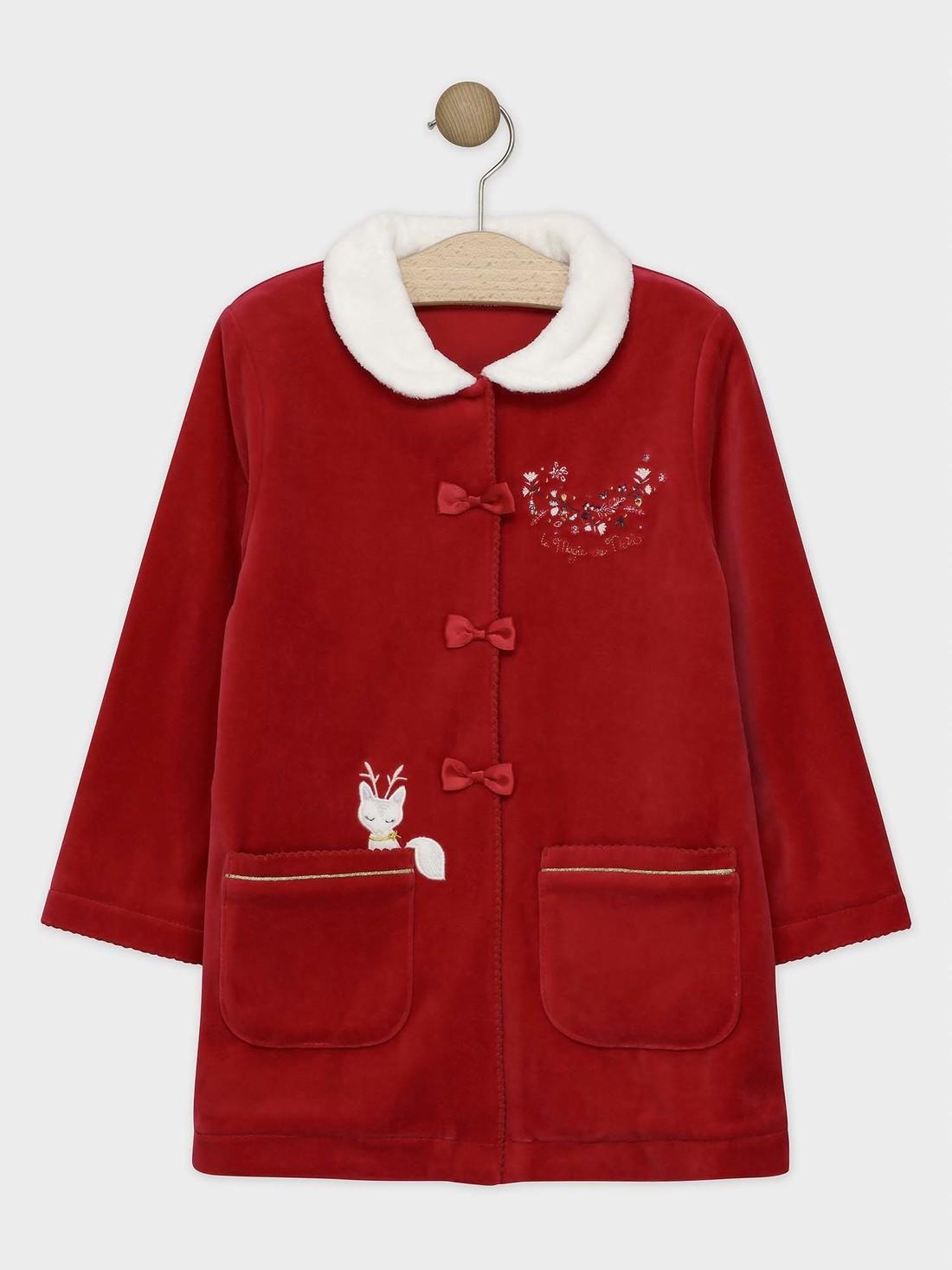 Robe de chambre en velours rouge et col en fausse fourrure petite fille