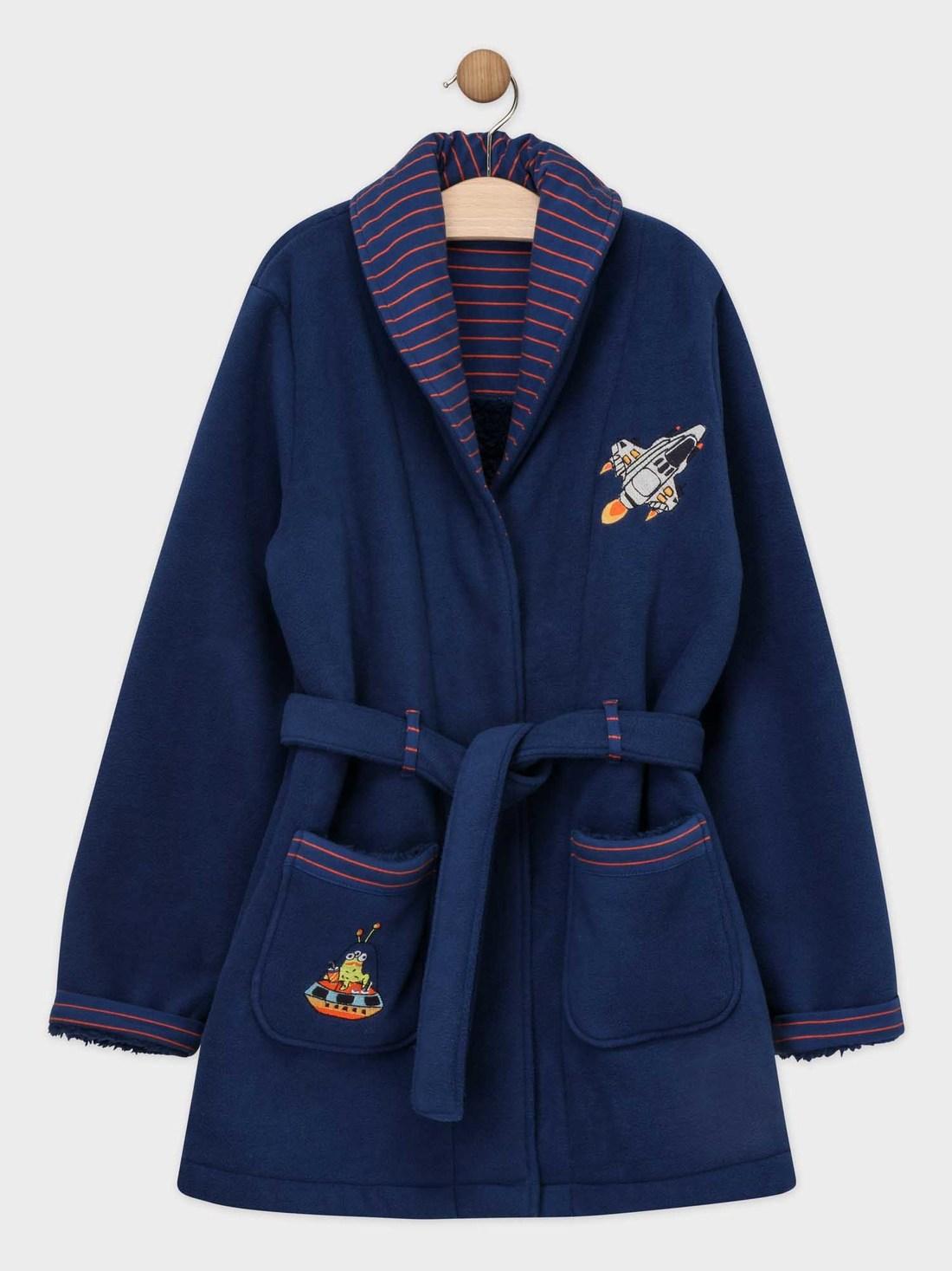 Robe de chambre bleu nuit en fausse fourrure petit garçon
