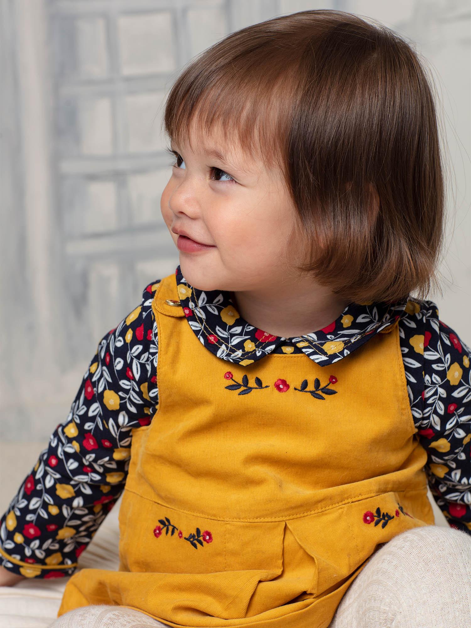 Body blouse bleu marine à imprimé fleuri bébé fille