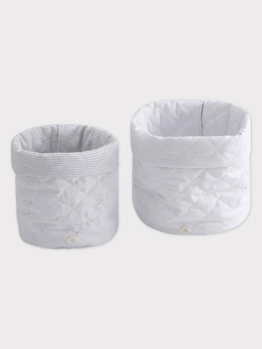 Lot de 2 paniers de rangement blanc et gris imprimé bébé mixte