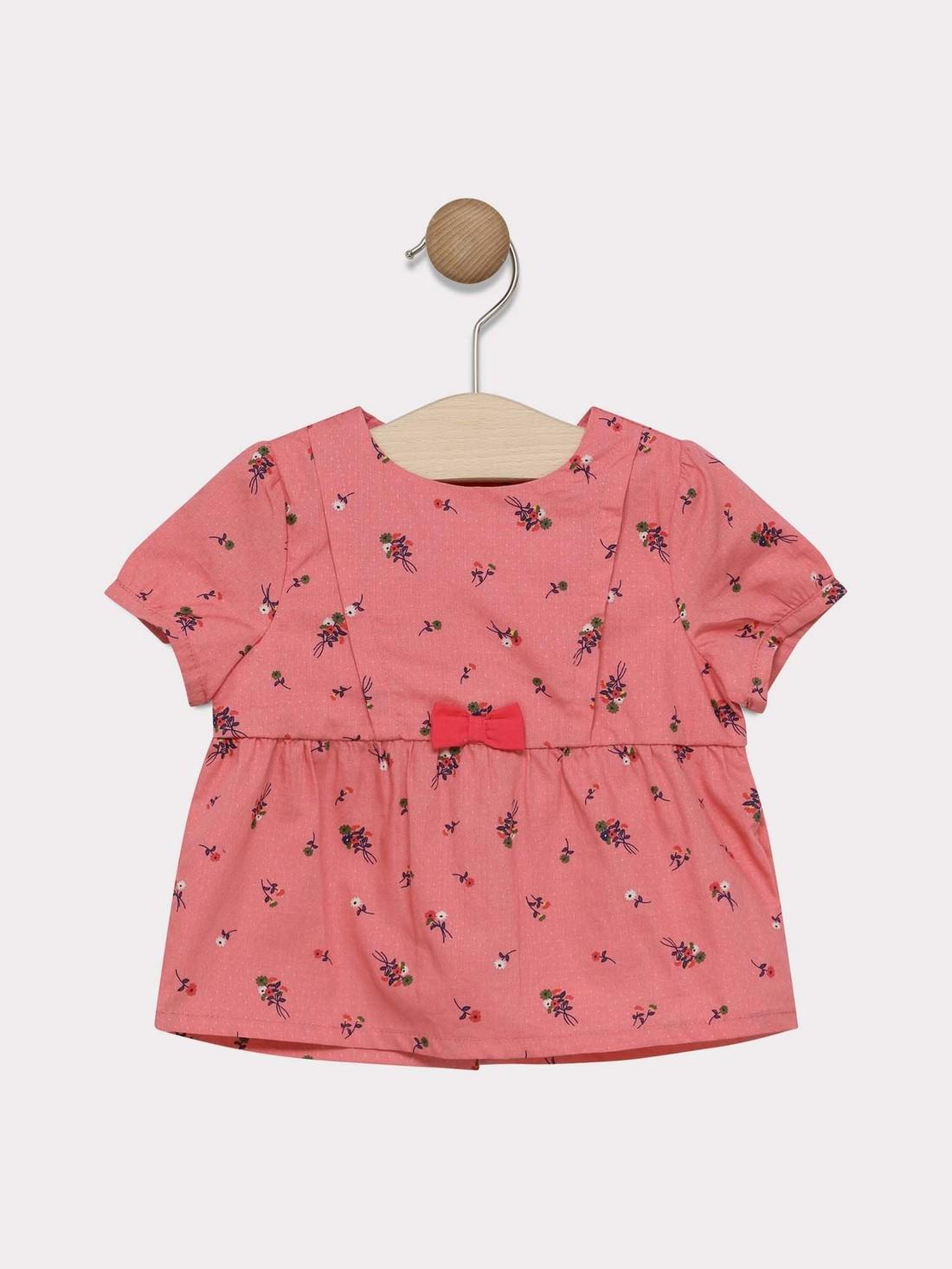 Chemisier imprimé rose bébé fille